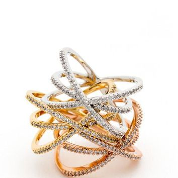 Criss Cross Triple Ring - Silver or Rose Gold
