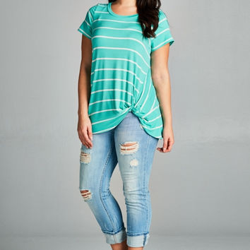 Striped Short Sleeve Tunic Top with Side Twist Detail