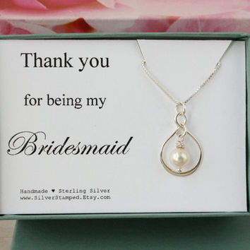 Bridesmaid Gift for Bridesmaid necklace thank you gift for bridesmaid - thank you for being my bridesmaid - Bridesmaids jewelry
