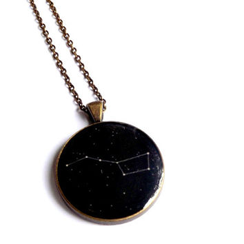 Big Dipper Constellation Necklace Ursa Major Constellation Necklace Great Bear Star Gift For Her Black Jewelry