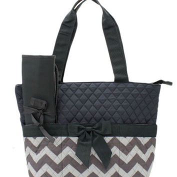 Personalized gray and white on gray chevron Diaper bag/ bags /purse