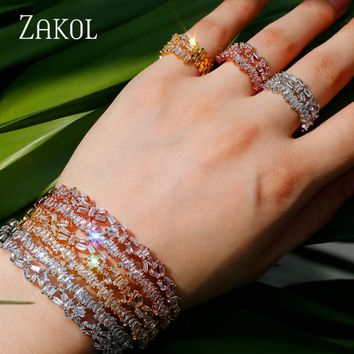 Unique Multi-layered Baguette Cubic Zircon Cuff Bangle Ring  Jewelry Sets