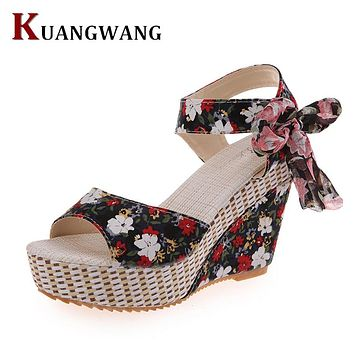 KUANGWANG Women's Fashion Spring Summer Open Toes Beautiful Floral Wedge Sandal Shoes