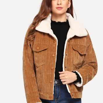 Faux Fur Lined Corduroy Jacket