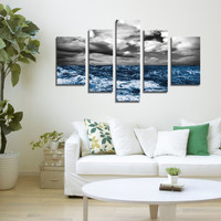 Extra Large Wall Art CANVAS - The Ocean Storm Canvas Print Ready to Hang  5 Panels - Best Quality Print for Great Home Decorations