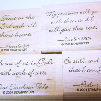 Rubber Stamp, Religious Scripture Quote Stamps, Unused Stampin' Up Rubber Stamps, Set Of 4, Card Making, Scrapbooking, Rubber Stamp Supplies