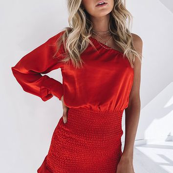 Whitney One Shoulder Dress Red