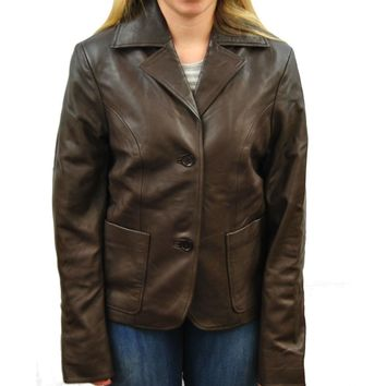 Clearance Womens Large Brown Leather Coat