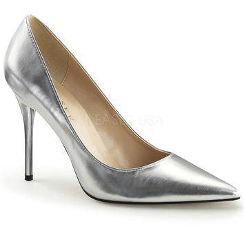 "Classique 20 Silver Pointy Toe 4"" Stiletto Heel Pump 6 - 16 Queen"