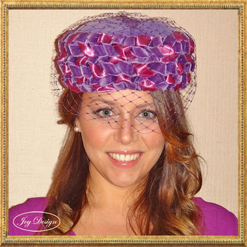 Vintage Pill Box Hat with Pink and Purple Woven Ribbons and Original Purple Birdcage Veil Get the Glamorous Jackie O pillbox style