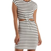 Ivory Combo Cut-Out Striped Bodycon Dress by Charlotte Russe