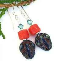 Trilobite Handmade Earrings, Coral African Sandcast Beads Crystals Artisan Fossil Jewelry