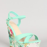Bamboo Floral Accent Ankle Strap Wedge