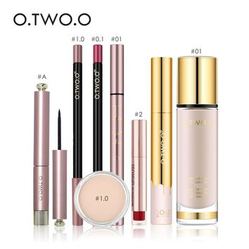 O.TWO.O Makeup Set 8pcs/lot Including Liquid Foundation Matte Lip Gloss Lipliner Mascara Eyeliner Concealer With Package