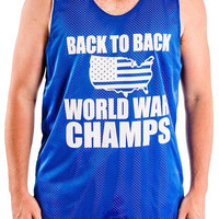 'Back to Back World War Champs' Pinnie (L Blue ONLY)