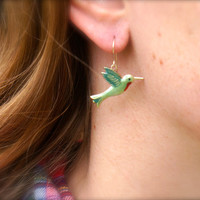 Green, Red Hummingbird earrings. Hand enameled over sterling silver.  Woodland, nature inspired. Gardener, birder gift.