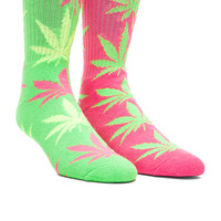 Huf Neon Plant life Sock in Neon Lime, Huf Neon Plant life Sock in Neon Pink