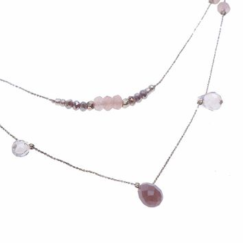 Nakamol Delicate Silver Gemstone Layered Necklace
