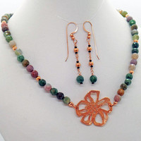 Copper Flower Indian Agate Necklace Earrings Set Natural Stone