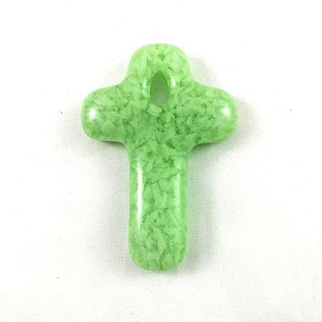 Handmade Art Glass Green Christian Cross Jewelry Pendant, Donation Piece, Mother's Day Gift