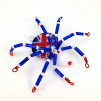 Beaded Spider Pendant - Union Jack - Red, White & Blue