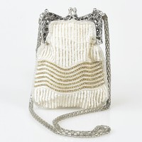 Iconic By UV Vintage Style Ivory & Silver Hand Beaded Flapper Purse