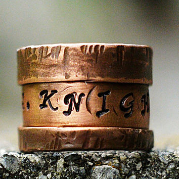 Personalized Copper Cuff Ring 1/2' Wide - Unisex, Engraved Name Ring, Rugged, Folded Edges, Dark Brown Copper