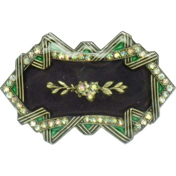 CATHERINE POPESCO France   Rhinestone Enamel Glass Brooch