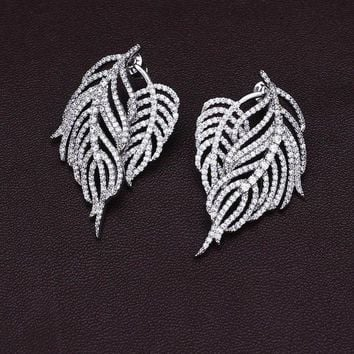 DCCKNY6 Pteris feather leaves full drill tassel sterling silver micro-studded earrings