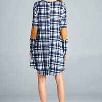 Loose Fit Long Sleeved Elbow Patch Dress