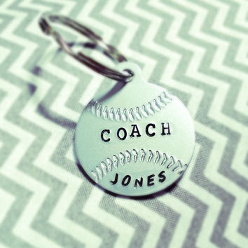 Coach's Gift -Personalized Baseball or Softball Keychain