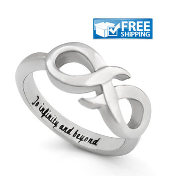 "Love Gift - Infinity Promise Couples Ring Engraved on Inside with ""To Infinity and Beyond"", Sizes 6 to 9"