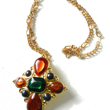 Jay Strongwater Colorful Pendant Scarf Slide With 14 KT Gold Plated Chain Necklace
