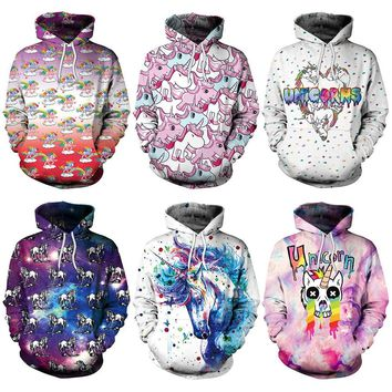 2018 New Galaxy Skull Tie Dye Rainbow Unicorn 3D Printed Hoodie Hooded Femme Sweatshirt Casual Loose Men Women Hoodies Coat