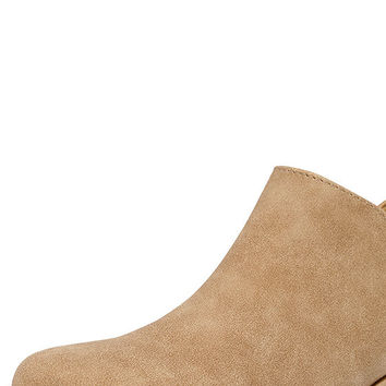Stands Apart Toffee Nubuck Ankle Booties
