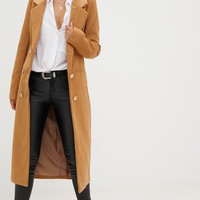 Camel Longline Double Breasted Coat