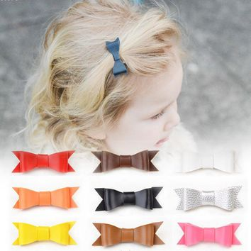 Synthetic Leather Bow Hair Clips Girls Hot Sale Felt Bowknot Hairpins Fashion Hairpin Accessories For Kids Girl A2