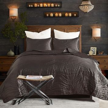 Cotton Palace Quilted comforter queen king 3pcs bedspreads satin silk Bedcover soft and luxury coverlet set