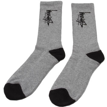 Stussy Stock Crew Socks - Heather Grey