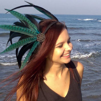 Feather headdress, tribal headpiece, boho hairband, headpiece Rock'n' Sea, festival headdress, tribal goddess, feather crown, bohemian