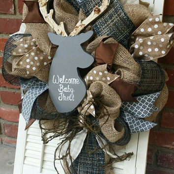Deer Nursery Decor Burlap Gray Deer Wreath Rustic Nursery Woodland Burlap Wreath Deer Baby Shower Burlap Winter Wreath Baby  Gray Decor