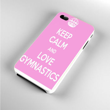keep calm and love gymnastics pink iPhone 4s Case