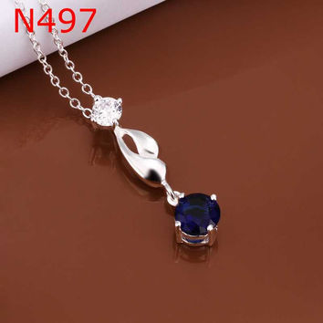 silver plated Chain Crystal Necklaces Pendants Men jewelry 497 MP