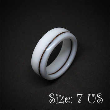 Size 7 US, White ring, White jewelry, Wood ring, Wood jewelry, Wooden ring, Corian ring, White band ring, White wedding ring, Resin rings