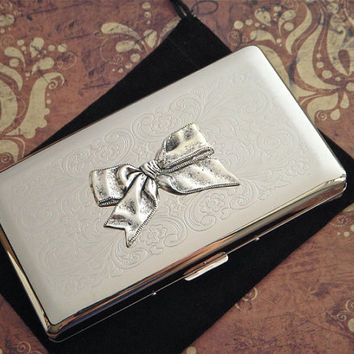 Long Cigarette Case Gothic Victorian Bow Vintage Reproduction Woman's Steampunk Big Silver Plated Metal Box Holds 120's Longs Cigarettes
