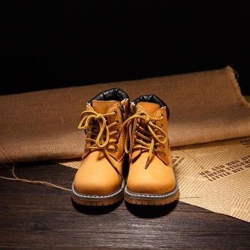 Baby Kids Girls Boys Casual Flats Lace Up High Tops Shoes Martin Boots = 1704291972