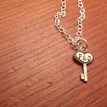 Hand stamped key to my heart-initials necklace-sterling silver personalized necklace-key necklace-couple gift-couples initials-gift for wife
