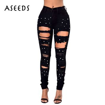 2018 Spring pearl Beading high waist jeans woman design hole ripped jeans for women Stretch black Denim Pencil Pants plus size