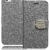 Bastex Heavy Duty Protective Case - Silver Glitter Bling Design Flip Wallet with Card Slots for Apple iPhone 6, 4.7""