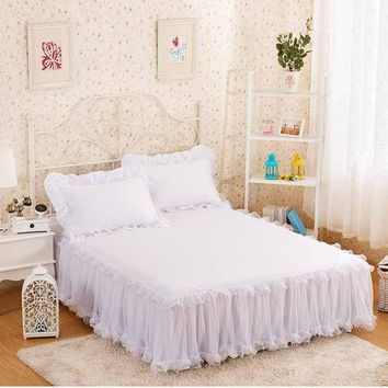 Cool Snow White Lace Bed Skirt Pillow cases 1/3Pcs Wedding Princess Bedding Girls Bedspread Bed sheet For Gifts King/Queen/Full sizeAT_93_12